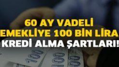 Emekliye Özel 60 Ay Vadeli 100 Bin Lira Kredi Alma Şartları Nelerdir?