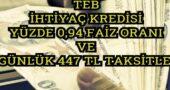 0.94 Faiz Oranıyla 447 TL Taksitle TEB Bayram Kredi Kampanyası