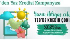 TEB 0.89 Faiz Oranı İle Yaz İhtiyaç Kredisi Kampanyası