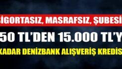 Denizbank Faizsiz Masrafsız Alışveriş Kredisi Kampanyası!