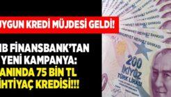 QNB Finansbank Gelire Göre Ödeme Seçenekli 75 Bin TL Kredi Kampanyası