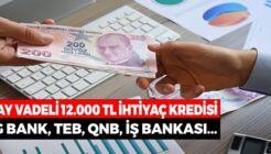 4 Bankadan 24 Ay Vadeli 12 Bin TL İhtiyaç Kredisi Kampanyası