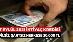 PTT Herkese Kefilsiz Şartsız 30 Bin TL Kredi Verecek!
